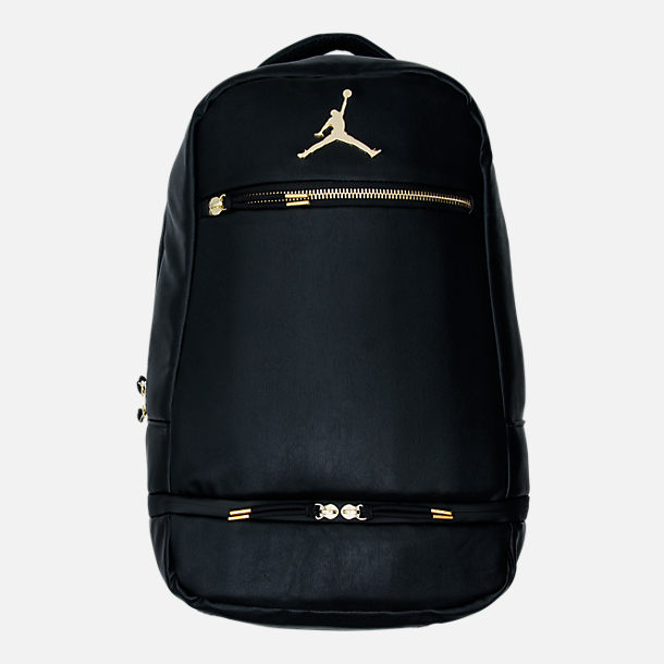 Front view of Jordan Skyline City Backpack in Black/Gold