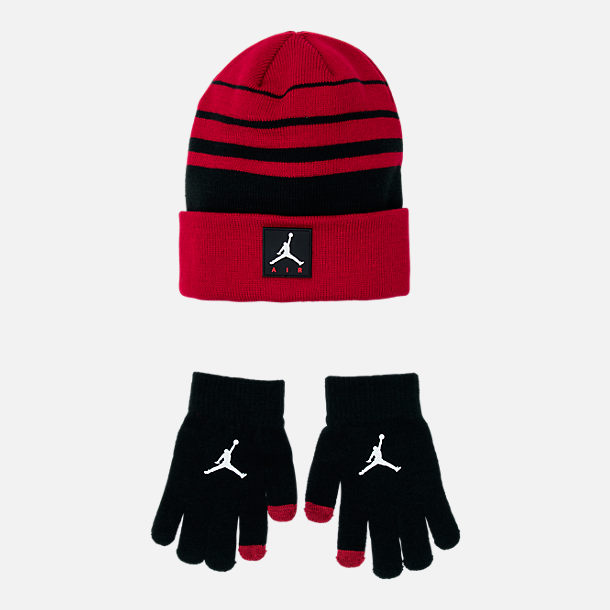 buy popular 09c32 49948 ... hot front view of kids jordan air knit beanie hat and glove set in gym  red