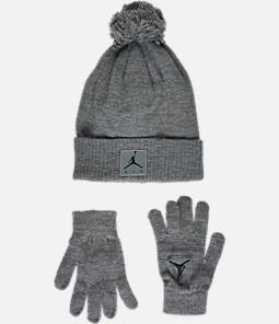 Kids' Air Jordan Heather Beanie Hat and Gloves Set