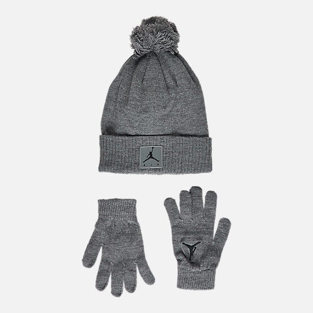 Front view of Kids' Air Jordan Heather Beanie Hat and Gloves Set in Grey Heather