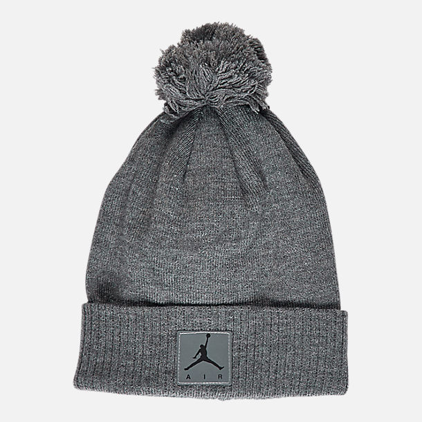 Back view of Kids' Air Jordan Heather Beanie Hat and Gloves Set in Grey Heather