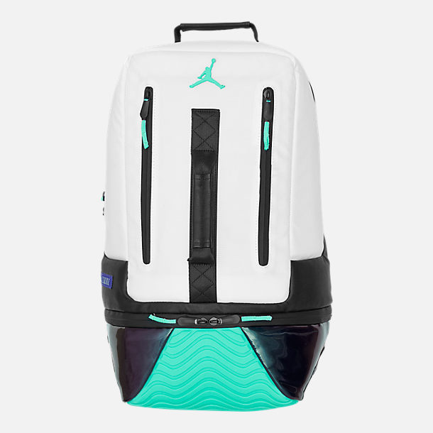 Front view of Air Jordan Retro 11 Backpack in White/Emerald Rise