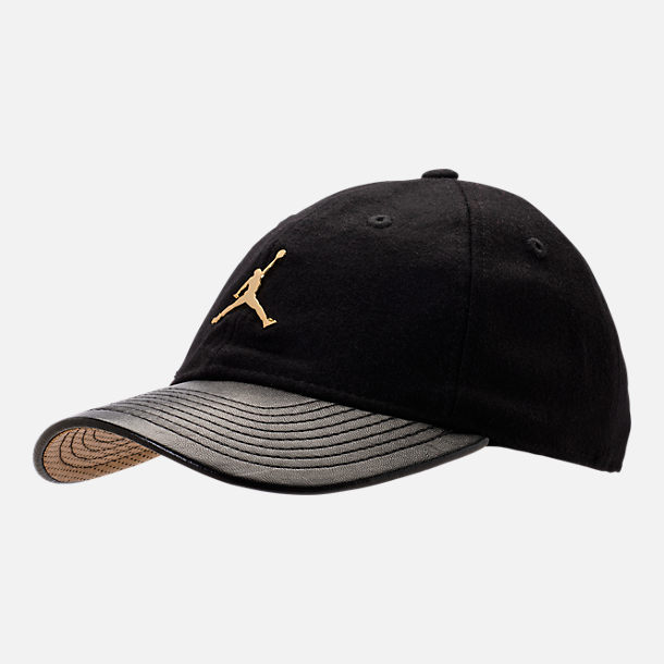 Front view of Kids' Jordan Gold City Strapback Hat in Black/Gold