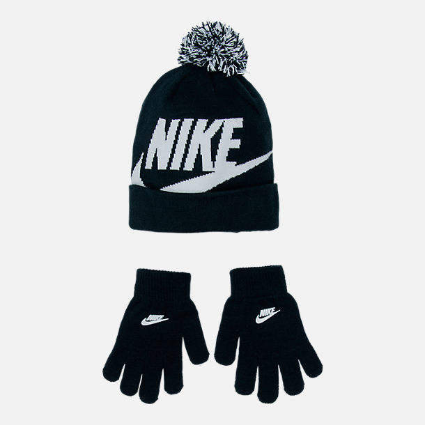 Front view of Kids' Nike Swoosh Beanie Hat and Gloves Set in Black/White