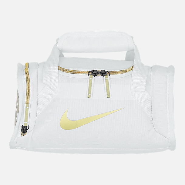 Front view of Nike Brasilia Fuel Lunch Tote in White/Gold