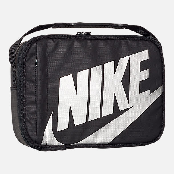Front view of Kids' Nike Futura Fuel Insulated Lunch Bag in Black/Metallic Silver
