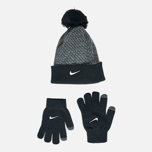 Front view of Kids' Nike Hazard Beanie Hat and Gloves Set in Grey/Black