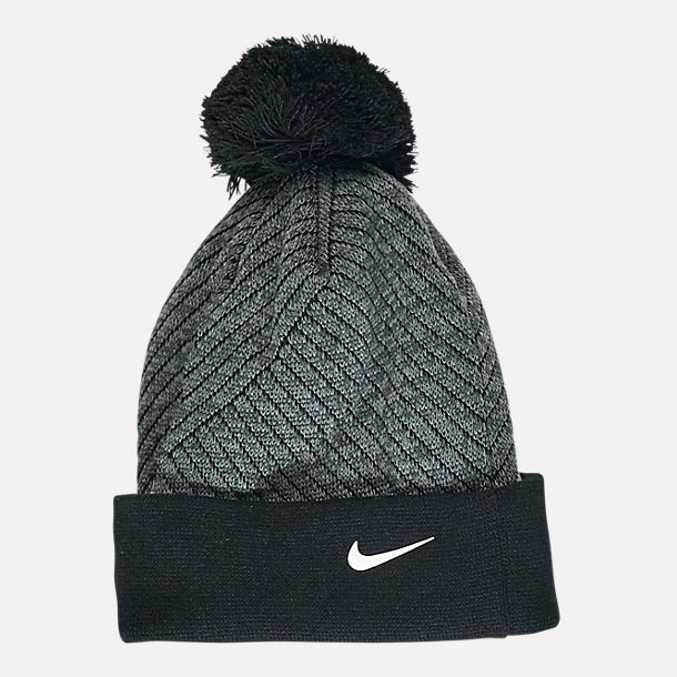 Back view of Kids' Nike Hazard Beanie Hat and Gloves Set in Grey/Black
