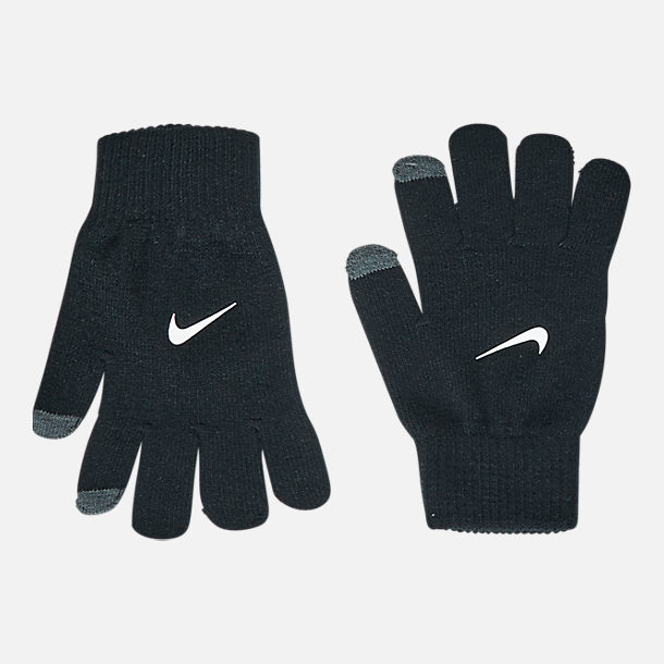 Alternate view of Kids' Nike Hazard Beanie Hat and Gloves Set in Grey/Black