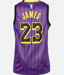 b028208e5c86 Kids' Nike Los Angeles Lakers NBA Lebron James City Edition Swingman  Connected Jersey