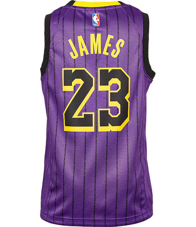 98bc999e59d Front view of Kids' Nike Los Angeles Lakers NBA Lebron James City Edition  Swingman Connected