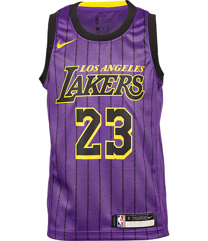 Back view of Kids' Nike Los Angeles Lakers NBA Lebron James City Edition Swingman Connected Jersey in Field Purple