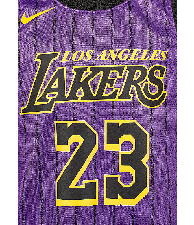 new style 084e7 8c703 Kids' Nike Los Angeles Lakers NBA Lebron James City Edition Swingman  Connected Jersey