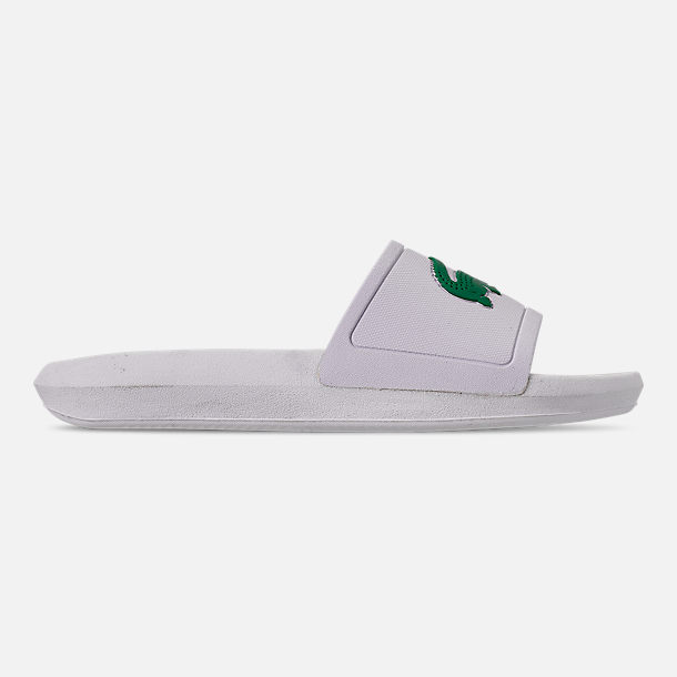 Right view of Women's Lacoste Croc Slide Sandals in White/Green