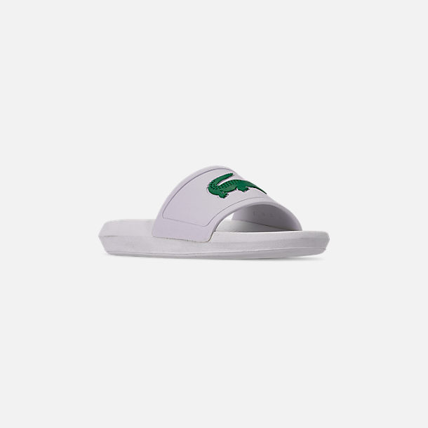 Three Quarter view of Women's Lacoste Croc Slide Sandals in White/Green
