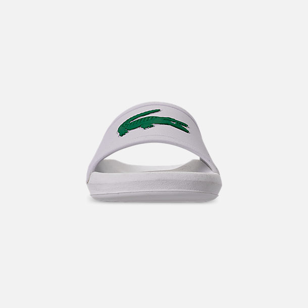 Front view of Women's Lacoste Croc Slide Sandals in White/Green