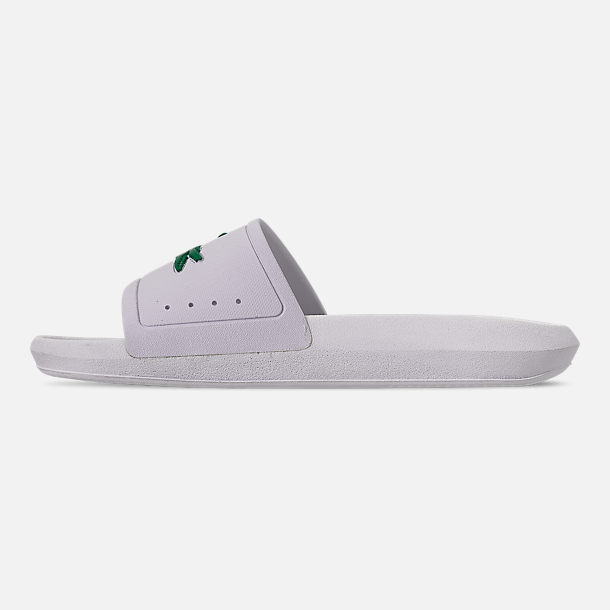 Left view of Women's Lacoste Croc Slide Sandals in White/Green