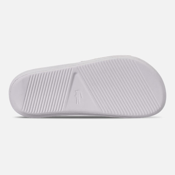 Bottom view of Women's Lacoste Croc Slide Sandals in White/Green