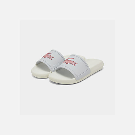 031cd7758 Three Quarter view of Women s Lacoste Croc Slide Sandals in White Light Pink