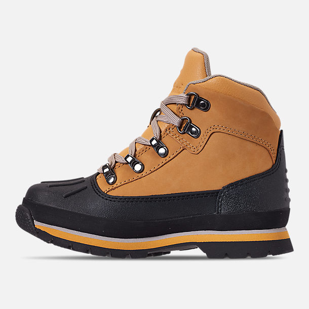 Left view of Boys' Preschool Timberland Euro Hiker Shell Toe Boots in Wheat Nubuck