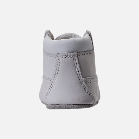 Back view of Unisex Infant Timberland Crib Booties with Hat in White
