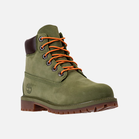 Three Quarter view of Kids' Grade School Timberland 6 Inch Classic Boots in Pesto