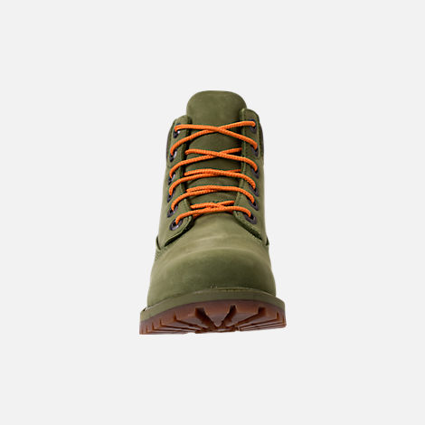 Front view of Kids' Grade School Timberland 6 Inch Classic Boots in Pesto