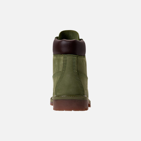 Back view of Kids' Grade School Timberland 6 Inch Classic Boots in Pesto