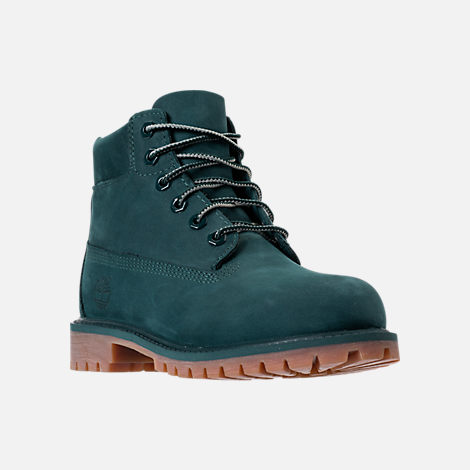 Three Quarter view of Boys' Preschool Timberland 6 Inch Premium Boots in Dark Green