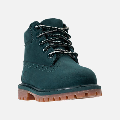Three Quarter view of Kids' Toddler Timberland 6 Inch Premium Boots in Dark Green