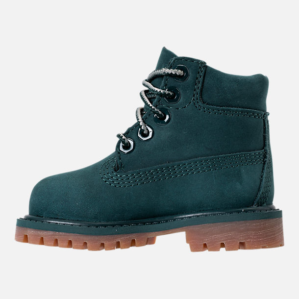 Left view of Kids' Toddler Timberland 6 Inch Premium Boots in Dark Green
