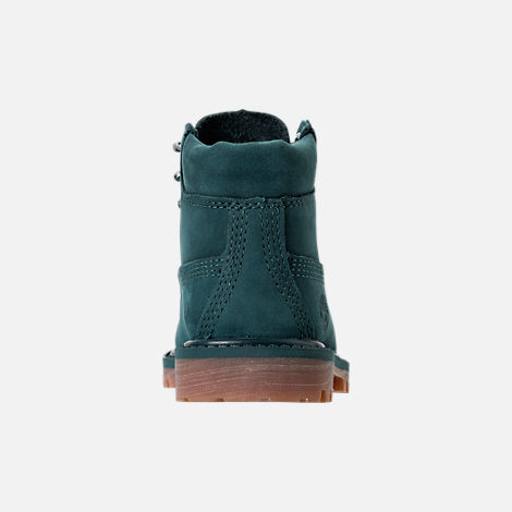 Back view of Kids' Toddler Timberland 6 Inch Premium Boots in Dark Green