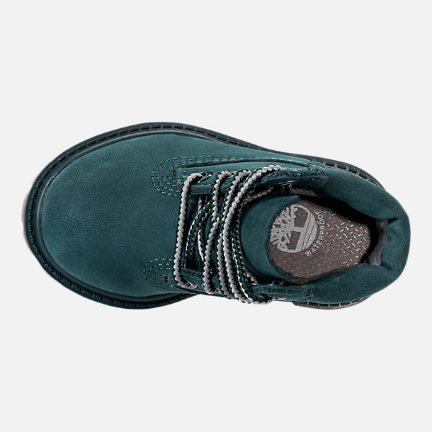 Top view of Kids' Toddler Timberland 6 Inch Premium Boots in Dark Green