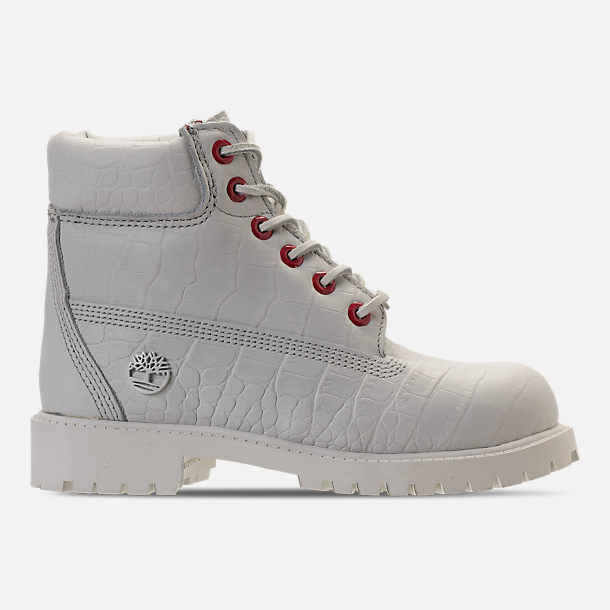 Right view of Kids' Preschool Timberland White Serpent 6 Inch Classic Boots in White Cardinal Exotic