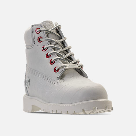 Three Quarter view of Kids' Preschool Timberland White Serpent 6 Inch Classic Boots in White Cardinal Exotic