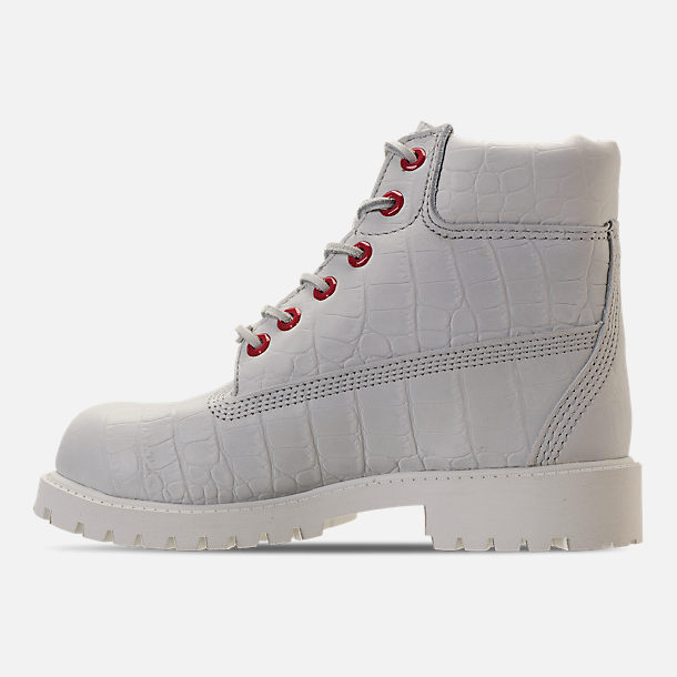 Left view of Kids' Preschool Timberland White Serpent 6 Inch Classic Boots in White Cardinal Exotic