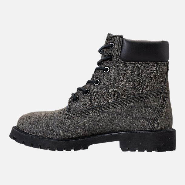 Left view of Boys' Grade School Timberland Junior Mammoth 6-Inch Premium Waterproof Boots in Black/Boa Dry Earth Helcor