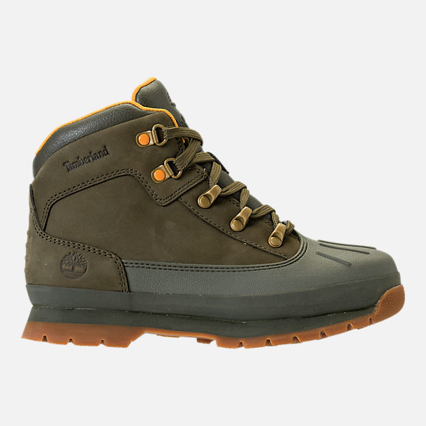 Right view of Girls' Grade School Timberland Euro Hiker Shell Toe Boots in Dark Olive