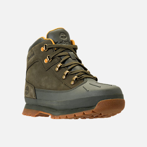Three Quarter view of Girls' Grade School Timberland Euro Hiker Shell Toe Boots in Dark Olive