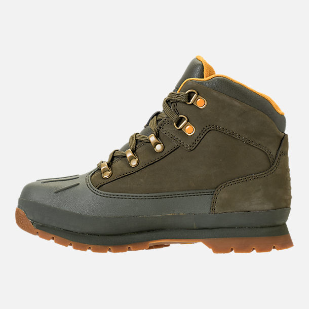 Left view of Girls' Grade School Timberland Euro Hiker Shell Toe Boots in Dark Olive