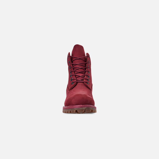 Front view of Men's Timberland 6 Inch Premium Classic Boots in Burgundy Waterbuck