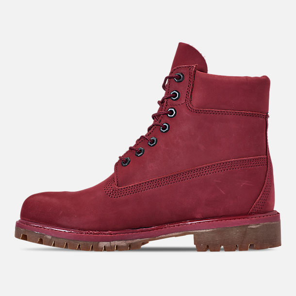 Left view of Men's Timberland 6 Inch Premium Classic Boots in Burgundy Waterbuck