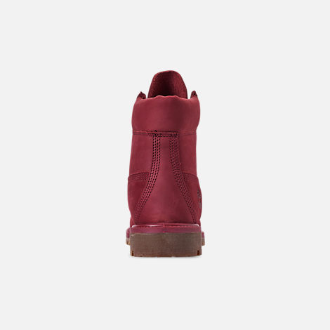 Back view of Men's Timberland 6 Inch Premium Classic Boots in Burgundy Waterbuck