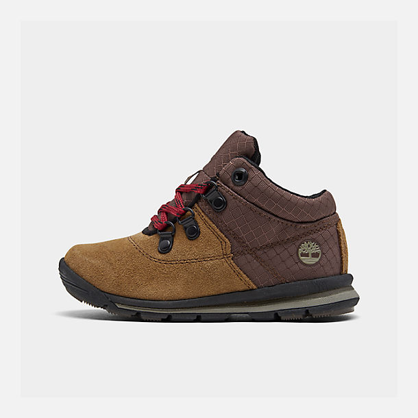 Right view of Boys' Toddler Timberland GT Rally Boots in Medium Brown Suede
