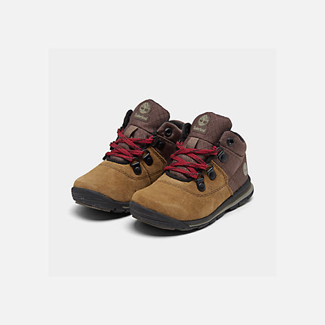 Three Quarter view of Boys' Toddler Timberland GT Rally Boots in Medium Brown Suede
