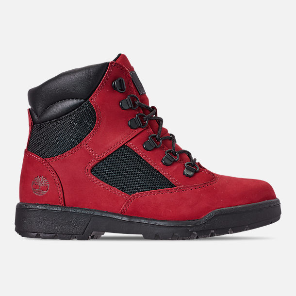 Right view of Boys' Big Kids' Timberland 6 Inch Field Boots in Red Waterbuck