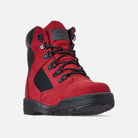 Three Quarter view of Boys' Big Kids' Timberland 6 Inch Field Boots in Red Waterbuck