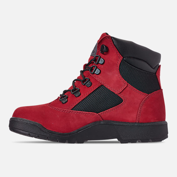 Left view of Boys' Big Kids' Timberland 6 Inch Field Boots in Red Waterbuck