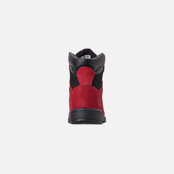 Back view of Boys' Big Kids' Timberland 6 Inch Field Boots in Red Waterbuck