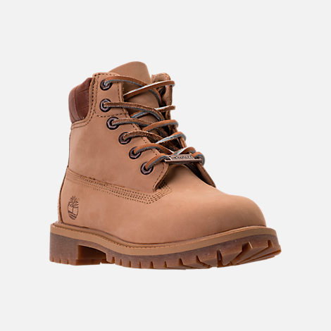 Three Quarter view of Boys' Preschool Timberland Pioneer 6-Inch Premium Boots in Iced Coffee Waterbuck